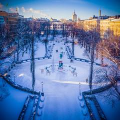 Esplanadi (miemo) Tags: dji europe finland mavic2 mavic2pro aerial city drone esplanadi helsinki park snow sunlight symmetrical trees winter uusimaa fi
