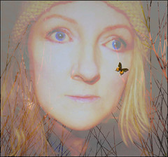 DREAM A BUTTERFLY IN A WINTER WOOD (Poppy ♥ Cocqué ♫) Tags: ap poppy poppycocqué art artwork surreal portrait selfportrait selfie butterfly