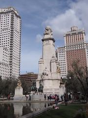 Plaza de España (procrast8) Tags: madrid spain plaza square espana cervantes monument barcelo torre tower hotel edificio