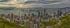 Caught Somewhere In Time (Wizard CG) Tags: victoria peak lugard road hong kong sunset morning wide angle panorama cityscape harbour kowloon central skyscrapers high cloudy skyline outdoor sky city olympus epl7