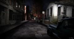 Born To Leave (Loegan Magic) Tags: secondlife street night vintage streetlamp clock car auto automobile
