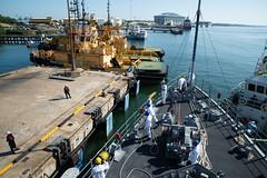 USS Chief (MCM 14) arrives at Muara Naval Base.