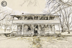 IMG_8210logo (Annie Chartrand) Tags: farmhouse house abandoned ruraldecay illinois calhouncounty antique sketch watercolor artistic