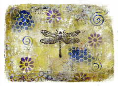 In The Garden (lwdphoto) Tags: lance duffin lancewadeduffin lanceduffin monoprint acrylic miniprint dragonfly flowers blockprint print printmaking ink art linocut gelliplate gelli gelliprint