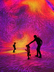 Color my world (Robert Bauernhansl) Tags: colors turbulence melt kids kinder vater mann tanzen dancing yellow gelb orange puprle violet violett red rot pink rosa projections projectionen particles partikel arselecttronica arselectronicacenter deepspace8k deepspace