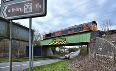 Near Althorp (whosoever2) Tags: uk united kingdom gb great britain england nikon d7100 train railway railroad march 2019 gbrf 66732 class66 althorp 4m23 felixstowe hamshall road bridge steel girder northamptonshire