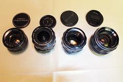 Vintage Glass 1 (siamesepuppy) Tags: pentax takumar lenses supermulticoated asahi japan ricoh rikenon 18 14 35 asahioptco autotakumar autorikenon manualfocus vintage lens rikenopticalcorp