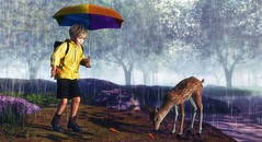 No act of kindness, no matter how small, is ever wasted. (Skippy Beresford) Tags: boy child children childhood kid kids deer doe nature rain spring trees adventure sharing giving generosity compassion kindness light love