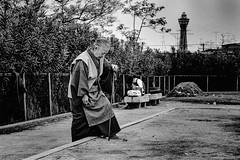 park・通天閣が見える街 640 (soyokazeojisan) Tags: japan osaka city park 通天閣 people bw blackandwhite monochrome analog olympus m1 om1 28mm film trix kodak memories 1970s