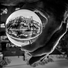 New Britain in the hand (Barbara Coughlin) Tags: lenball iphoneography newbritain city bw hand
