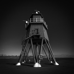 Sunlit Lighthouse, South Shields (solidtext) Tags: lighthouse south shields groyne blackandwhite mono river tyne