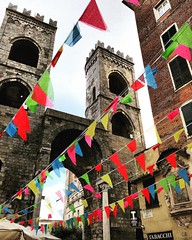 """""""The Flags"""" (giannipaoloziliani) Tags: movement arcs downtown italia lightandshadow liguria italy towers hdr skyline architecture genova genoa colors bandierine flags iphonephotography iphone"""