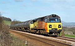 Colas 70 At Holme Chapel. (Neil Harvey 156) Tags: railway 70809 holmechapel cliviger copypitline prestondockstanks prestontanks bitumentanks 6e32 class70 colasrail colas