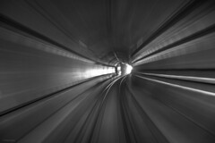 Exit Wounds (sdupimages) Tags: pov perspective composition noirblanc noiretblanc blackwhite filé pauselongue longexposure bw nb eurostar train railroad vitesse blur motion speed monochrome tunnel tgv hs1