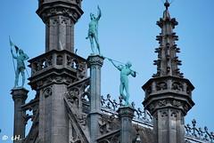 Blue (Els Herten) Tags: blue sky sculpture statue tower roof gothic architecture building stonework brussels city belgium grandplace bronze