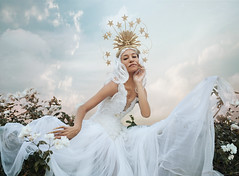 Swanlight II (.bella.) Tags: bella kotak creaturehabits vanessa walton swan girl woman nymph fairytale photography portrait fine art fantasy white dress bridal flowers floral feathers bird queen princess headpiece gold