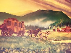 Canmore Alberta History (Mr. Happy Face - Peace :)) Tags: history art2019 architecture unknown painting oils brush strokes spokes vintage oldwest albertabound horse ponies carriage chuckwagon drivers frontier canada canmore banff alberta pastels catchycolors creativity dreams flickrfriends hss