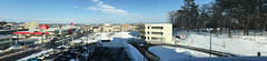 Panorama Eastwards from the Kitahiroshima City Hall Building 2 (sjrankin) Tags: 18february2019 edited kitahiroshima hokkaido japan snow ice weather sky cityhall clouds buildings parkinglot cars roads stores panorama