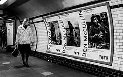 Camden Town Underground Station (Warren Brendan McCann) Tags: camdentown london londonunderground canong1x canon mono blackandwhite tube woman donmccullin