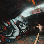 Wolf mural in Free Expression Tunnel