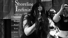 Event Horizon March 2019 029 (byronv2) Tags: music musician woman women makeup stage band krow krowandtheelectrictemple goth gothic punk electro blackandwhite blackwhite bw monochrome dance shorelineofinfinity eventhorizon edinburgh edimbourg scotland frankensteins georgeivbridge