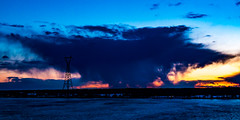 Mother's Drama (langdon10) Tags: canada montreal quebec stlawrenceriver sunset water orange powerlines shoreline