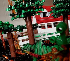 Brickvention 2019 - Early Teaser (Lonnie.96) Tags: lego brick moc own creation model display brickvention vention bv 2019 january 17 18 19 20 melbourne victoria australia teaser preview sneak peak view segment part red white green black flames grass fire farm house fence tree advance royal exhibition building carlton