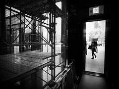 CLOSED... (明遊快) Tags: monochrome street urban city light shadow dark window lines woman people bw japan building step contrast