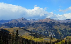 On the Silver Thread Scenic Byway (Patricia Henschen) Tags: lakecity colorado gunnisonnationalforest observation site autumn fall fallcolor leafpeeping aspen silverthreadscenicbyway scenicbyway silverthread clouds mountains mountain sanjuanmountains sanjuan road trip