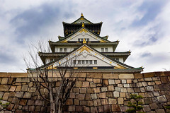 Osaka Castle (Synghan) Tags: osakacastle castle osaka japan japanese asia tower artificial manmade treasure photography horizontal outdoor colourimage fragility freshness nopeople foregroundfocus adjustment interesting awe wonder fulllength depthoffield vivid sharpness eaves eave lowangle travel destination attraction landmark local regional samsung galaxy wide3 journey 오사카성 일본 오사카