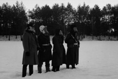 We can see the summer coming (Sonofsono) Tags: film finland soviet gp5 gas mask apocalyptic apocalypse postapocalyptic graflex speedgraphic black bw white winter snow trench coat fomapan