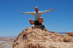 Fly Like a Bird (Chris Hunkeler) Tags: chile desert mountain sand rock atacama man armsspread span valledelaluna