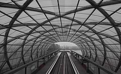 [Explore #483] Endstation U4 Elbbrücken (Froschkönig Photos) Tags: endstation u4 elbbrücken hamburg hh ubahn hochbahn verkehr traffic x rund circle nex5r 6000 a6000 ilce6000 sonyalpha6000 kit bw sw explore