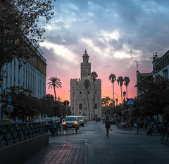 Torre del Oro (Tom Neumann) Tags: sony a7m2 ilcea7m2 55mm ciudad sevilla españa andalucia atardecer color sombra torre nubes urbano urban clouds tower shadow colour sunset spain seville tree building architecture arquitectura road city sky