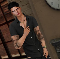 A las 8 (Sebastriano) Tags: swank event firelight hair hj necklace men man boy secondlife sl