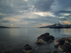 Sea Of Elefsis (panos_adgr) Tags: nikon d850 long exposure photography seascape winter sunset elefsina attica greece tavel sea water rocks sky clouds ship motion nd filter