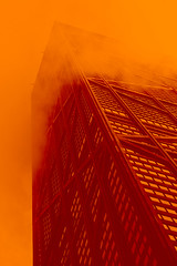 Hancock (justingreen19) Tags: 360chicago 875northmichiganavenue america chicago chicagoskyscraper illinois johnhancock johnhancockcenter michiganavenue northmichiganavenue architecture cloud duotone fog foggy justingreen19 landmark lookingup mist neon observationdeck observatory orange skydeck skyscraper touristattraction