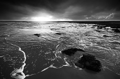 A Meandering of Tide (andy_AHG) Tags: scotland galloway wigtownshire northernbritain outdoors rural countryside history legend folklore nikond300s beach bay sand rocks shore sea rock sky landscape ocean monochrome monreithbay tide lucebay