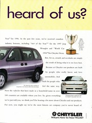 1997 Chrysler Voyager Jeep Wrangler & Neon Page 2 Aussie Original Magazine Advertisement (Darren Marlow) Tags: 1 7 9 19 97 1997cchrysler v voyager j jeep wrangler w n neon c car van 4 d 4wd cool collectiblecollectors classic vehicle a automobile u s us usa united states american america 90s