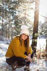 Emmie. (emmadavidso) Tags: aperturewideopen beautifullightuk beautiful bokeh woodlands englefieldestate teenmodel portrait natural sunrays backlight snowday berkshire