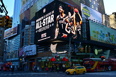 (xtaros) Tags: nyc newyork timessquare brooklyn brooklynnets basketball billboard street xtaros taxi bus buses red yellow buildings building architecture streetphotography streetshots