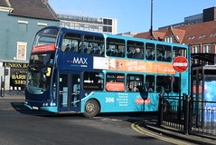 ANE 7415 @ Newcastle-upon-Tyne Eldon Square/Haymarket bus station (ianjpoole) Tags: arriva north east volvo b7tl wright eclipse gemini lf52uoy 7415 working max route 306 newcastleupontyne haymarket bus station grand parade tynemouth this is former london vlw125