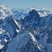 Le Grand Combin de Grafeneire (4314 m), le Cervin (4478 m) le Mont Rose (4.634m), Aiguille du Midi, Chamonix-Mont Blanc, Haute-Savoie, Rhône-Alpes, France.