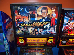 Golden  Eye (scottamus) Tags: pinball machine game table arcade backbox backglass translite art artwork graphics design goldeneye jamesbond 007 sega 1996
