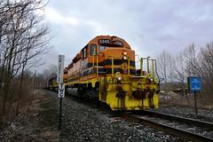 BP 3345 Entering CSX Yard. New Castle, PA (bobchesarek) Tags: bprr buffalopittsburgh csx trains railroad locomotive coaltrain hoppers westpittsburghyard interchange