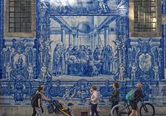 Of social indifference - Death of a Saint (lebre.jaime) Tags: portugal porto people street streetphotography azulejo mural nikon d600 retinaxenar5028 digital fullframe fx