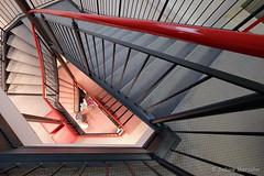 View to the Shoe (Sockenhummel) Tags: badsegeberg treppe treppenhaus stairs stairway staircase laden geschäft schuhgeschäft rot geländer stufen steps escaliers stairwell architecture architektur fuji xt10