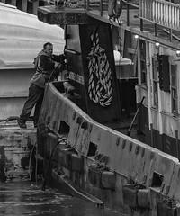 WorkingontheMississippiRiver_SAF0299 (sara97) Tags: copyright©2019saraannefinke harborboat mvcarrieelizabeth mississippiriver missouri photobysaraannefinke pushboat saintlouis towboat blackwhite blackandwhite bw monochrome