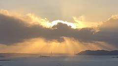Contested Sky (Melinda * Young) Tags: seascape bridge goldengate berkeleyhills strawberrycanyon west evening rays sun clouds drama light dusk hidden mountains marin bayarea bay