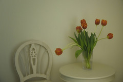 Waiting Room.jpg (remiklitsch) Tags: chair table flowers tulips vase cream orange stilllife